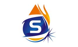 Water Fire Flame Gas Oil Initial S. Logo vector illustration, can be used for any purpose Royalty Free Stock Photo
