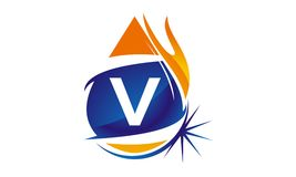 Water Fire Flame Gas Oil Initial V. Logo vector illustration, can be used for any purpose Royalty Free Stock Images