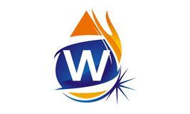 Water Fire Flame Gas Oil Initial W. Logo vector illustration, can be used for any purpose Stock Photography