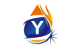 Water Fire Flame Gas Oil Initial Y. Logo vector illustration, can be used for any purpose Stock Photo
