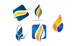 Water Fire Flame Gas Oil Set. Vector Royalty Free Stock Photos