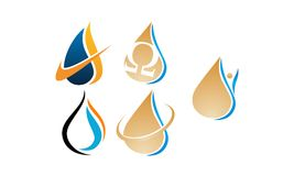 Water Fire Flame Gas Oil Set. Vector Stock Images