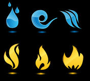 Water and fire glossy icons. With reflection Royalty Free Stock Photo