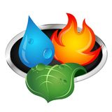 Water, fire and green leaf. Ecological symbol Stock Photos