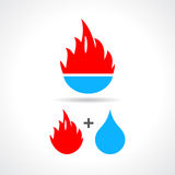 Water and fire icon. Vector clip art Royalty Free Stock Images