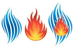 Water Fire Logo. A water fire logo icon, separate and together Royalty Free Stock Image