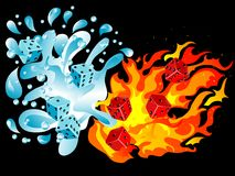 Water and fire. Red and blue dices in water splash and fire Royalty Free Stock Images