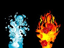 Water and fire. Red and blue dices in water splash and fire Royalty Free Stock Image