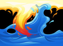 Water and fire yin yang symbol. Illustration of the water and fire looking like yin and yang symbol Stock Photo