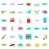 Water fish icons set, cartoon style Royalty Free Stock Photography