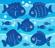 Water and fish silhouettes image 3. Eps10 vector illustration Stock Photos
