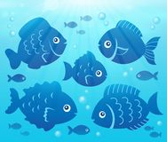 Water and fish silhouettes image 2. Eps10 vector illustration Stock Images