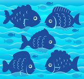 Water and fish silhouettes image 4. Eps10 vector illustration Stock Image