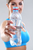 Water in a fitness bottle royalty free stock photography