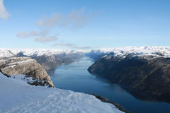 Water, fjord and mountains. Lysefjorden - Norway Royalty Free Stock Images