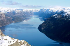 Water, fjord and mountains. Lysefjorden - Norway Stock Images