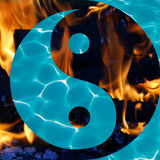Water and Flames in a Yin and Yang Royalty Free Stock Image