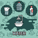 Water flat concept icons Royalty Free Stock Photo