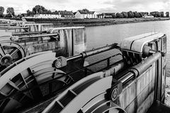 Water flood-gate perspective view, Mont Saint-Michel. France Royalty Free Stock Photo