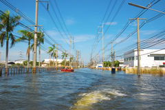 Water flood in industrial estate Stock Image