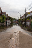 Water flood village. In Don Mueang district. Problem with the drainage system royalty free stock images