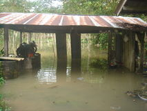 Water flooded village in nakhon si thammarat district. Stock Photo