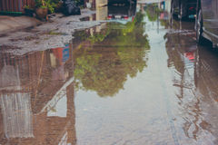 Water flooding on street after heavy rain. Stock Image