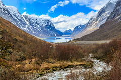 Water flow down from river to lake with snow cap mountain backgr. Ound, Norway Royalty Free Stock Images