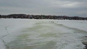 Water flow between ices. Flight on quadcopter stock video