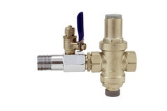 Water flow regulator with ball valve. And adapter Royalty Free Stock Photo