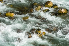 Water flow and the stones. Rapid turbulent stream of water and stones Stock Photos