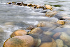 Water flowing. Over beautiful stones through the France Ardeche Stock Photos