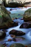 Water flowing. On slow motion captured Stock Photos