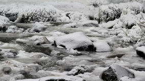 Water Flowing along Latourell Creek in Deep Freeze Winter 1080p Stock Photography