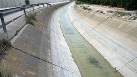 Water flowing in canal. Water flowing in aqueduct in rural Orange and Lemon growing area in Spain stock footage