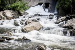 Water Flowing in a Connecticut Stream. Water flows in a rocky stream in Connecticut near route 7 Stock Photography