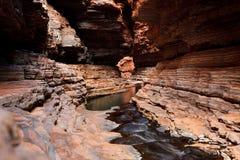 Water flowing deep below in gorge Royalty Free Stock Image