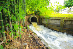 Water flowing from a drain pipe into a river Stock Photo