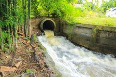 Water flowing from a drain pipe into a river Royalty Free Stock Photography