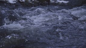 Water flowing and floating in river with good sound stock video footage