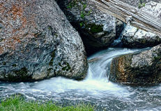 Water Flowing Through Large Rocks HDR Stock Photos