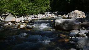 The water flowing through Lynn Creek. With sound. The water flowing through Lynn Creek.During the summer time, many people visit Lynn Canyon in order to relax stock video footage