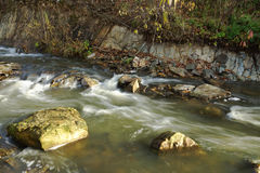 Water flowing in a mountain stream Royalty Free Stock Images