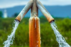 Water flowing from outdoor tap Royalty Free Stock Photo