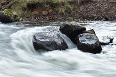 Water flowing over a rock. In the creek Royalty Free Stock Image
