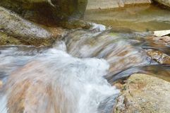 Water flowing on the rock and wave splashing in river. Water flowing on the rock and wave splashing in the river stock image