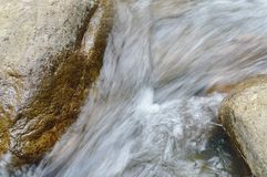 Water flowing on the rock and wave splashing in river. Water flowing on the rock and wave splashing in the river royalty free stock photo