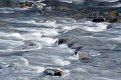 Water flowing into a stream, long exposure, moving water effect. Stream with small waterfalls, long exposure, moving water effect Stock Images