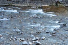 Stream with small waterfalls, long exposure, moving water effect. Water flowing into a stream, long exposure, moving water effect Royalty Free Stock Image