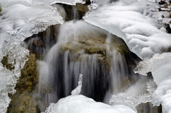 Water Flowing under Ice on Dolomites Royalty Free Stock Image